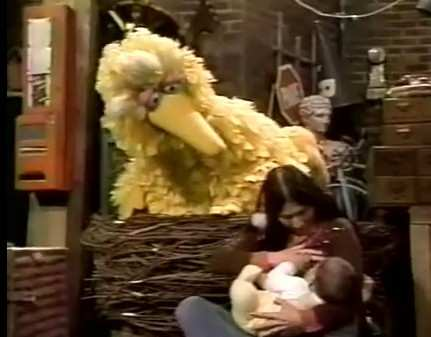 Sesame Street's Buffy Teaches Big Bird about Nursing a Baby