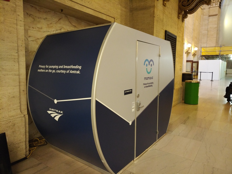 Amtrak Chicago Union Station lactation pod.