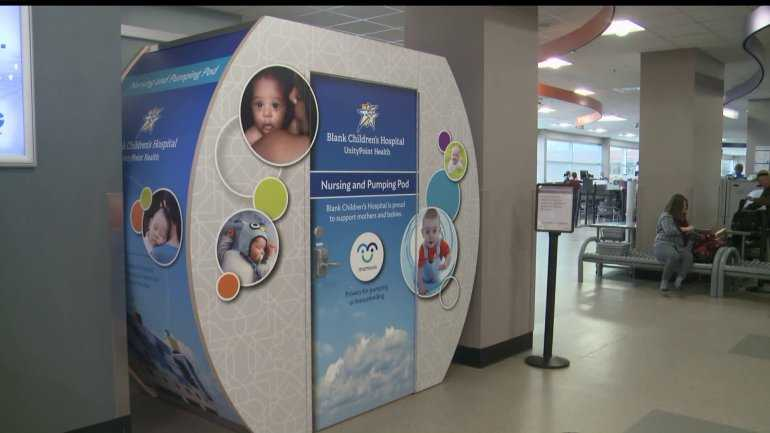 Photo of Des Moines International Airport nursing pod.