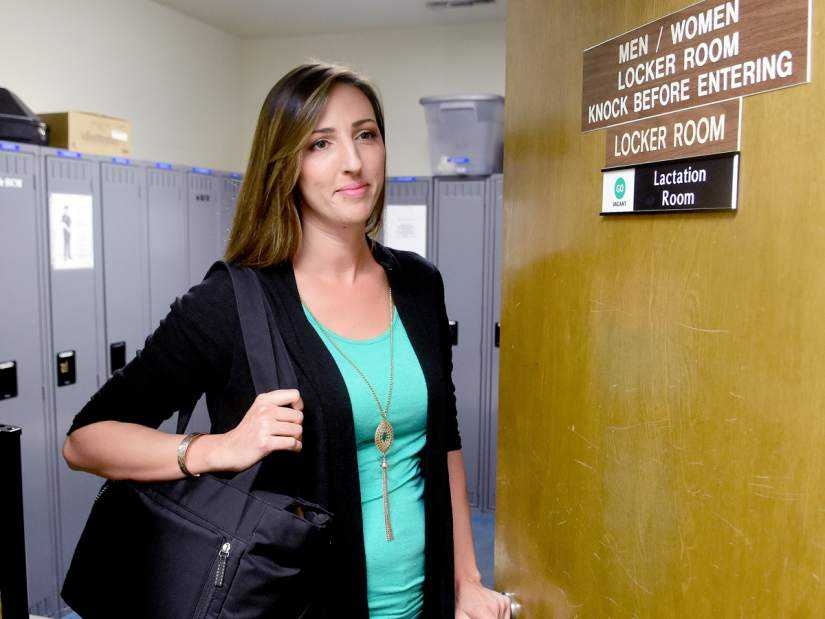 Photo of mom at sonora police department lactation room